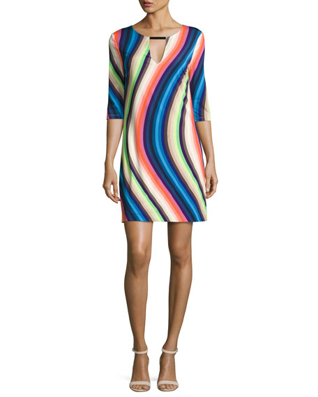 Trina Turk Bolero 3/4-Sleeve Waved Stripe Shift Dress,