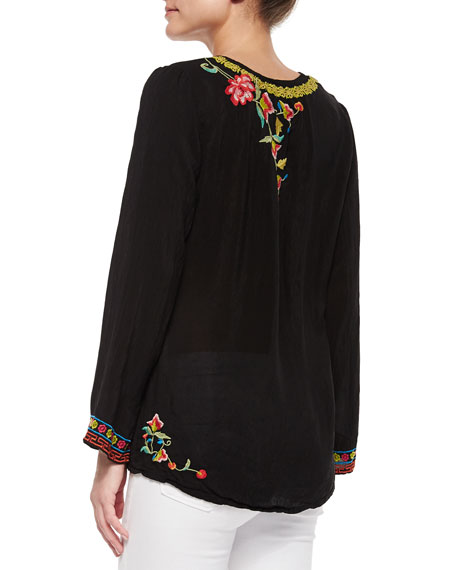 Suko V-Neck Embroidered Blouse, Plus Size