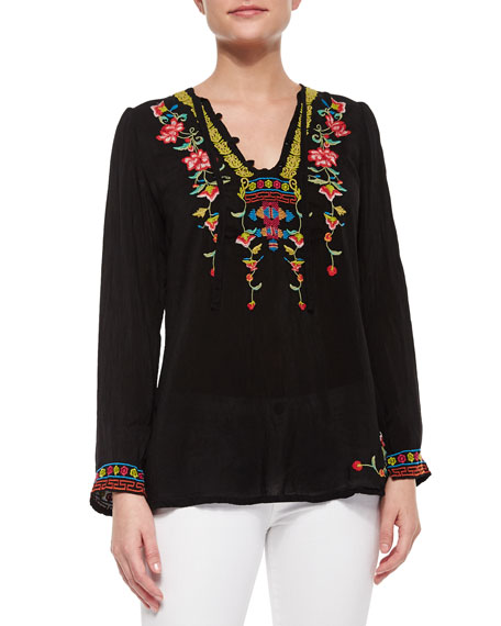 Johnny Was Suko V-Neck Embroidered Blouse, Petite