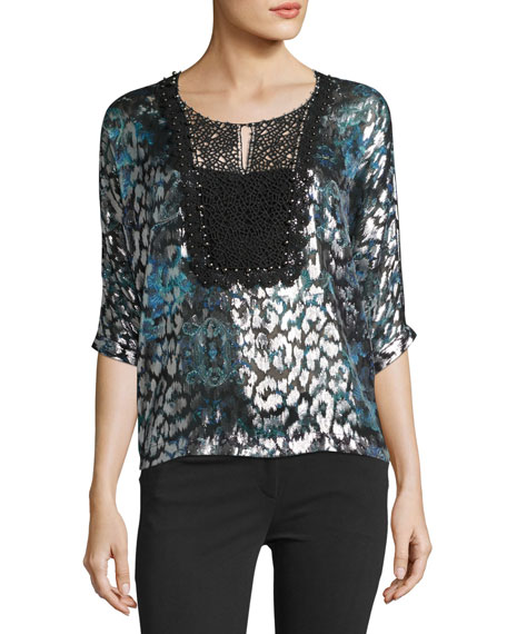Elie Tahari Milan 3/4-Sleeve Lace-Yoke Blouse, Navy