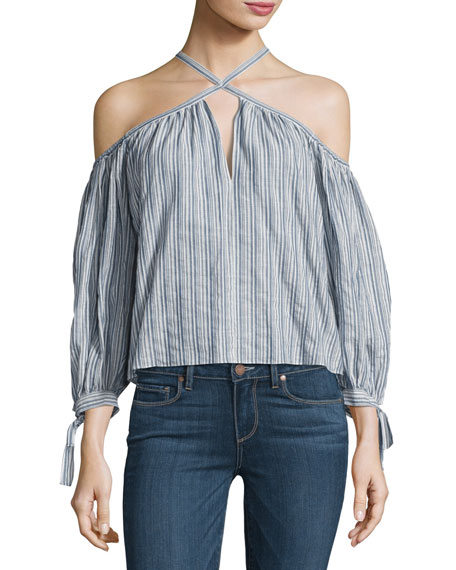 Rebecca Taylor Off-the-Shoulder Stripe Cotton Top, Multi