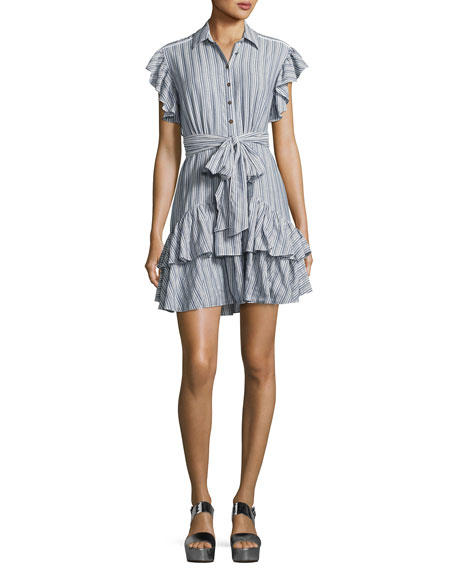 Rebecca Taylor Cap-Sleeve Striped Ruffled Dress, Blue/White