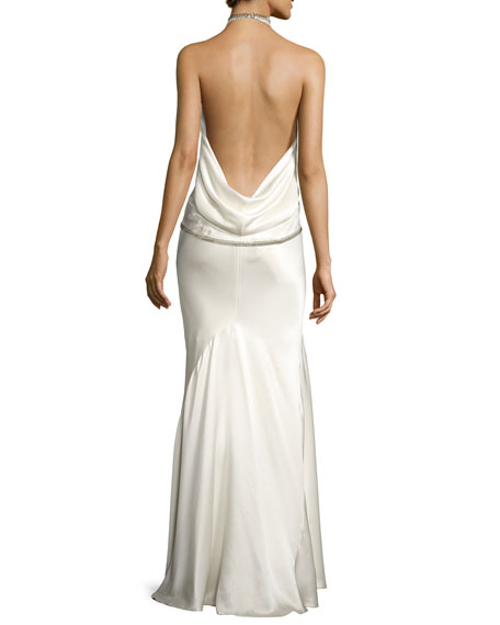 Fishbone-Chain Backless Satin Evening Gown, White
