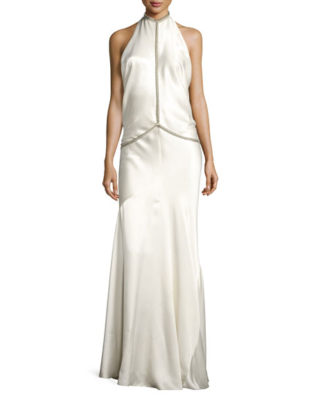 Alexander Wang Fishbone-Chain Backless Satin Evening Gown, White