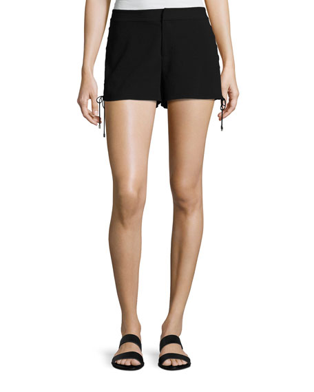 Haute Hippie The Getaway Lace-Up Side Shorts, Black
