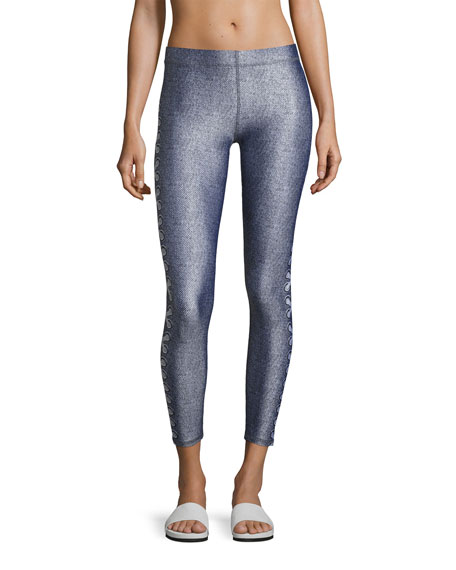Side-Lace Denim Performance Leggings