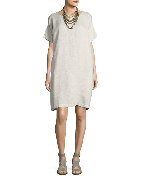Eileen Fisher Slubby Organic Linen Shift Dress, Bone