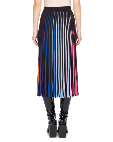 Pleated Jersey Midi Skirt, Multicolor