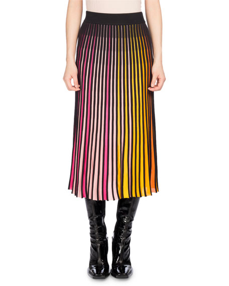 Kenzo Pleated Jersey Midi Skirt, Multicolor and Matching