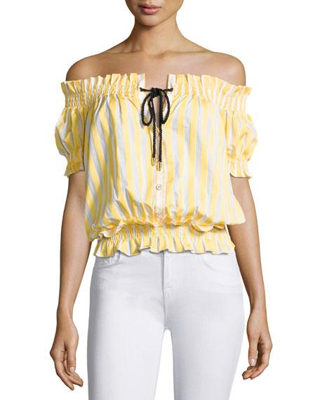 Caroline Constas Off-The-Shoulder Peasant Top, Yellow