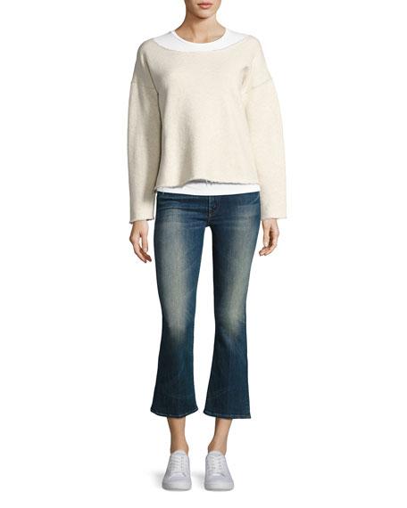Insider Mid-Rise Flared Crop Jeans, Indigo