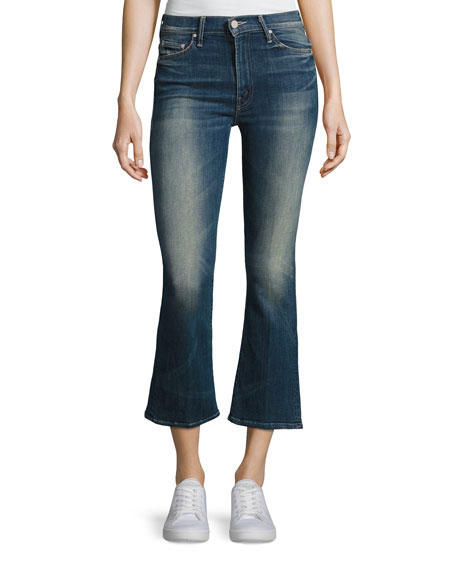 Mother Insider Mid-Rise Flared Crop Jeans, Indigo