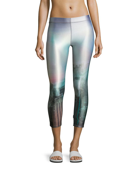 Performance Capri Leggings, Gray Pattern