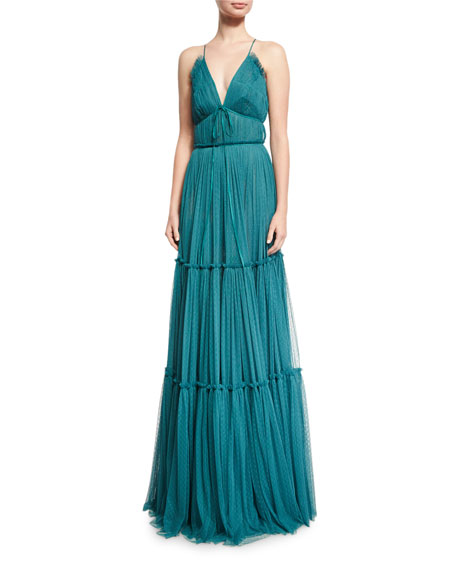 Sachin & Babi Vivien Shirred Silk Point d'Esprit Gown