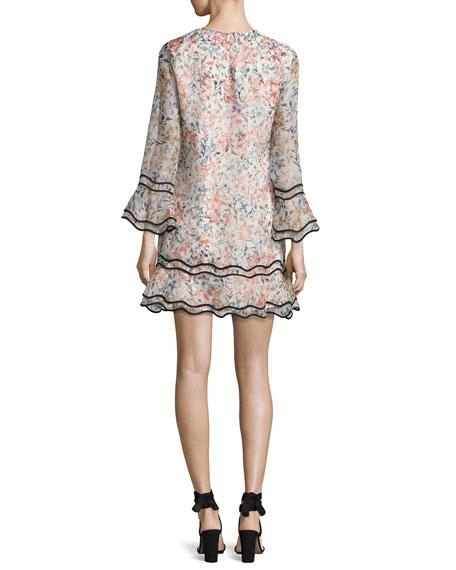 New Sveta Waved Floral Silk Cocktail Dress, Ivory