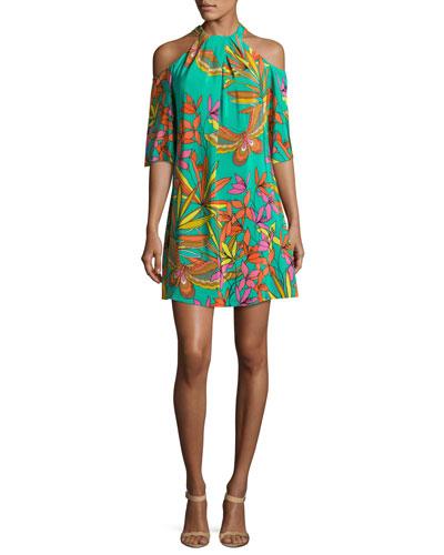 Spirit Cold-Shoulder Printed Silk Mini Dress, Teal