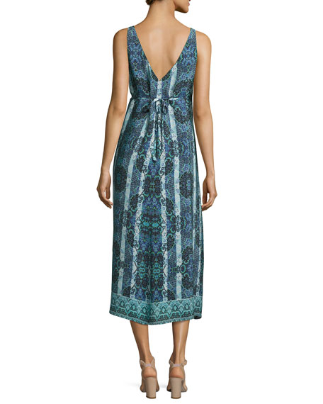 Windswept Floral Silk Midi Sundress, Black/Blue