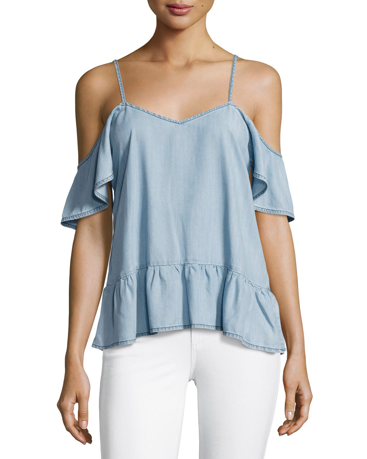 51ef25ccc489cb PAIGE Mitzi Cold-Shoulder Chambray Top