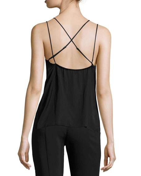 Blackburn Double Spaghetti Strap Open-Back Top, Black