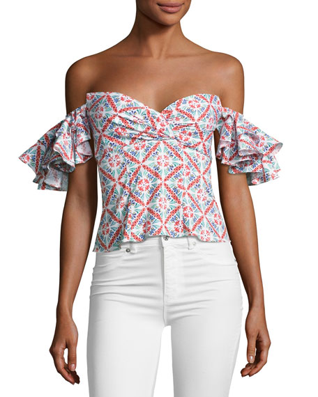 Caroline Constas Louisa Printed Cotton Top, Pink