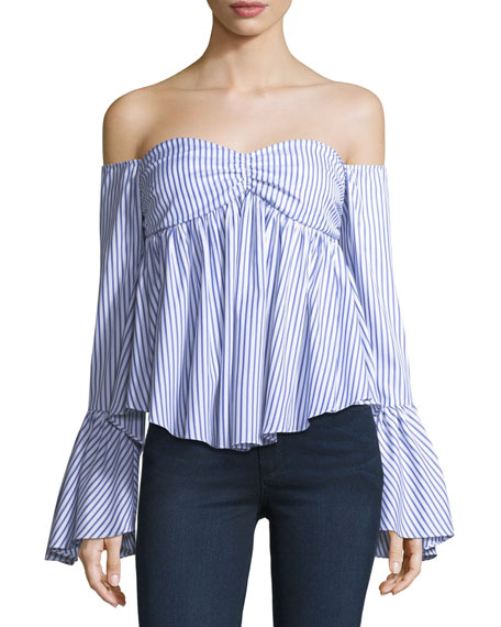 Caroline Constas Max Off-the-Shoulder Bell-Sleeve Striped Poplin