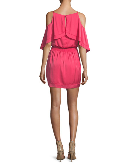 Colusa Cold-Shoulder Stretch Silk Ruffle Dress