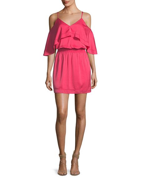Trina Turk Colusa Cold-Shoulder Stretch Silk Ruffle Dress,