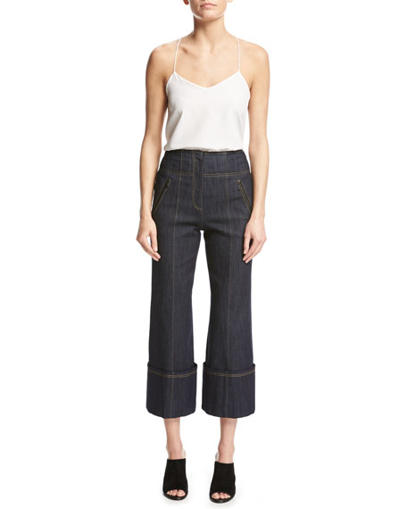 Marla High-Waist Wide-Leg Denim Pants, Blue