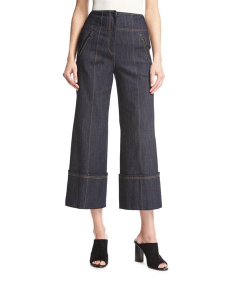 cinq a sept Marla High-Waist Wide-Leg Denim Pants, Blue