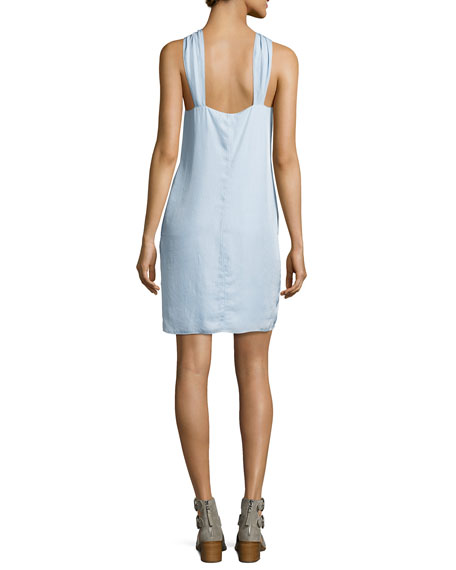 Collingwood Knotted Halter Dress, Blue
