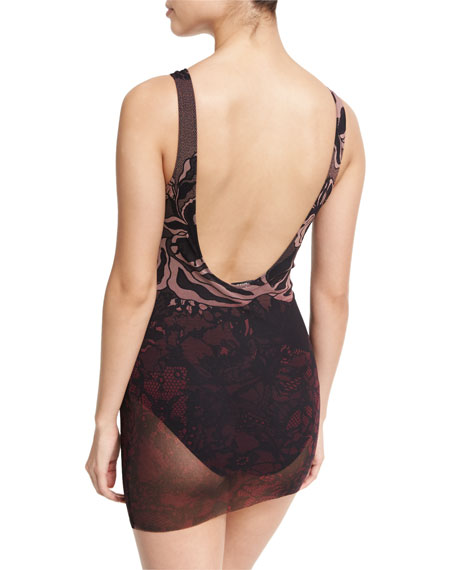 Floral Print Tulle Overlay One-Piece Swimdress, Black