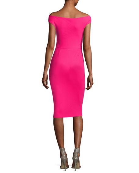 Maureen Ruched Jersey Sheath Dress, Fuchsia