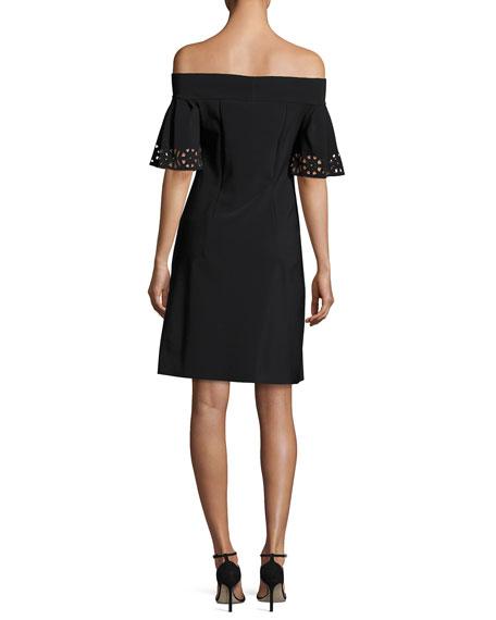 Amice Off-the-Shoulder Laser-Cut Jersey Cocktail Dress, Nero/Rose Quartz