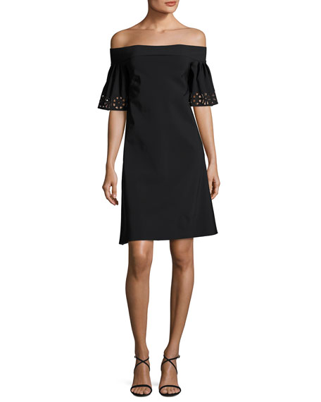 Chiara Boni La Petite Robe Amice Off-the-Shoulder Laser-Cut