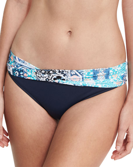 Silk Market Twist-Band Swim Bikini Bottom, Bahama Blue