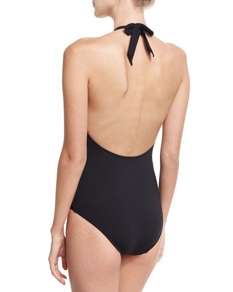 Beach Squad Deep V Maillot Swimsuit, Black