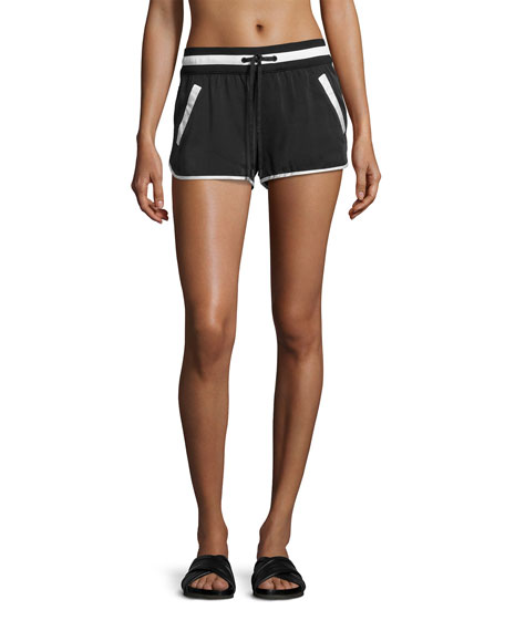 Venice Silk Drawstring Shorts, Black/White