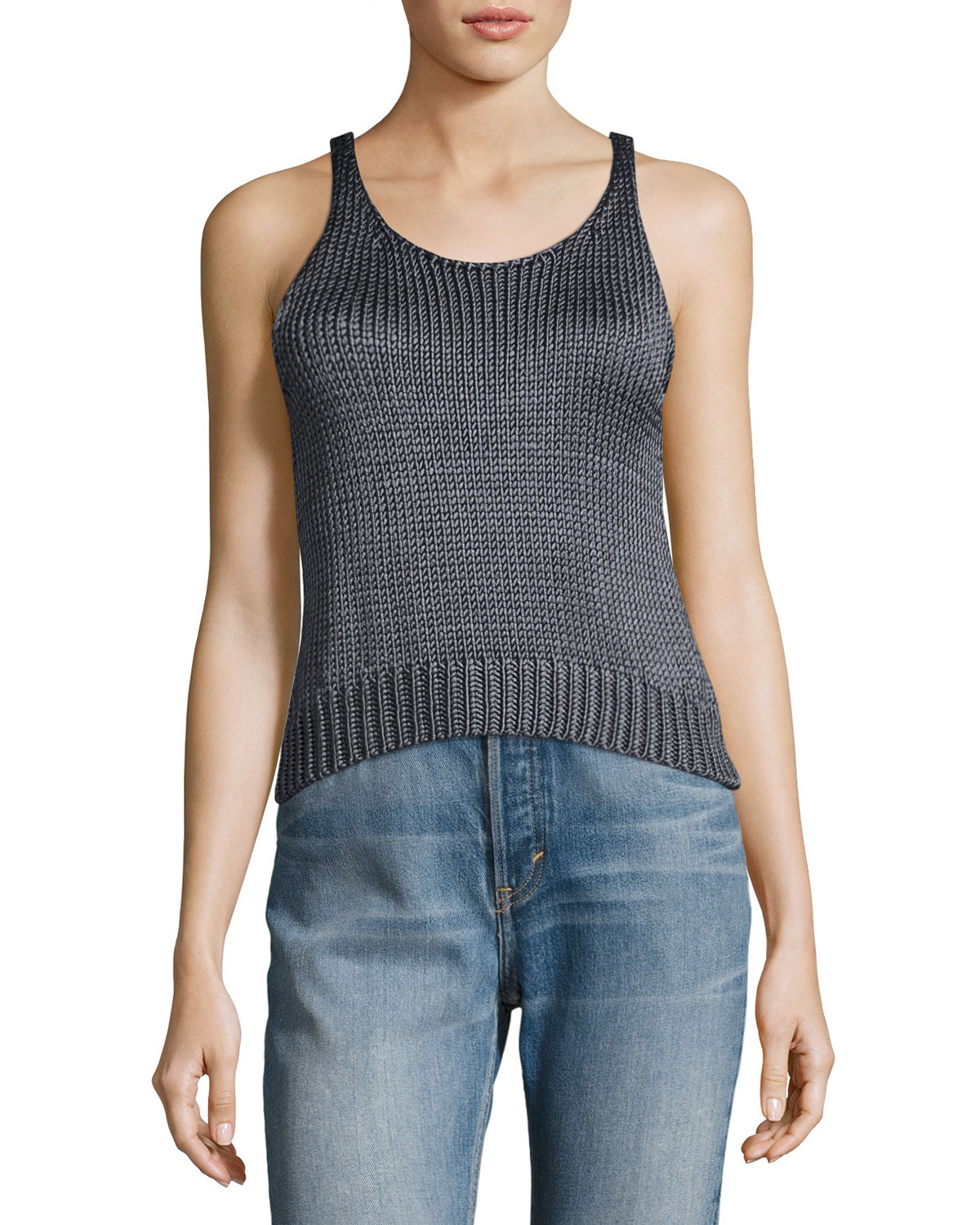 Clearance Online Fake Vince Cable-Knit Silk Crop Tank Top Cheap Sale Best Seller Prices Sale Online Best Place For Sale tIFUN