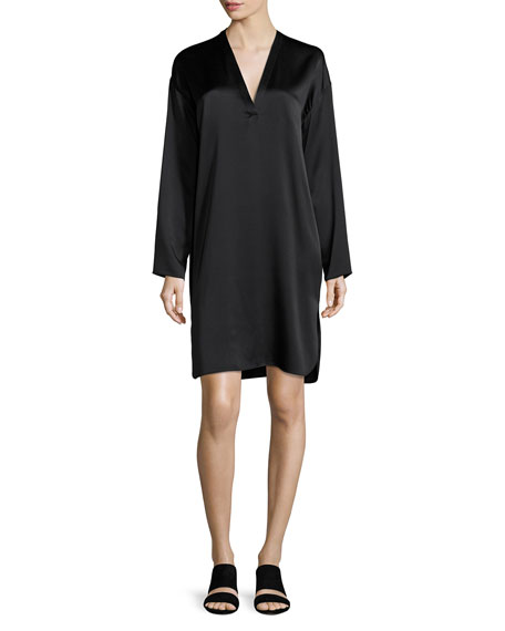V-Neck Tunic Silk Dress, Black