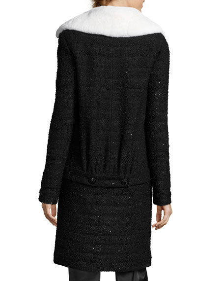Textural Sequin Knit Topper W/ Detachable Fur Collar