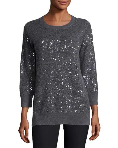 Neiman Marcus Cashmere Collection 3/4-Sleeve Sequin Cashmere