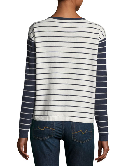 Striped Cashmere Crewneck Pullover