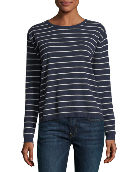 Neiman Marcus Cashmere Collection Striped Cashmere Crewneck
