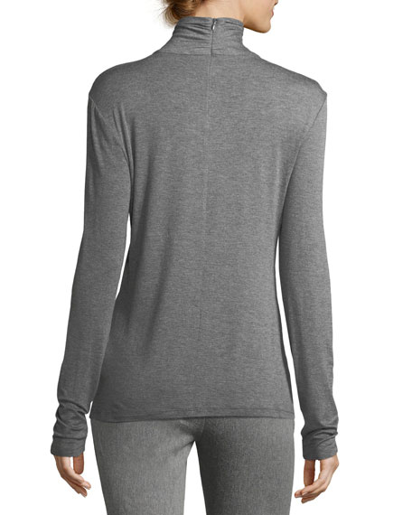 Mock-Neck Jersey Top, Gray