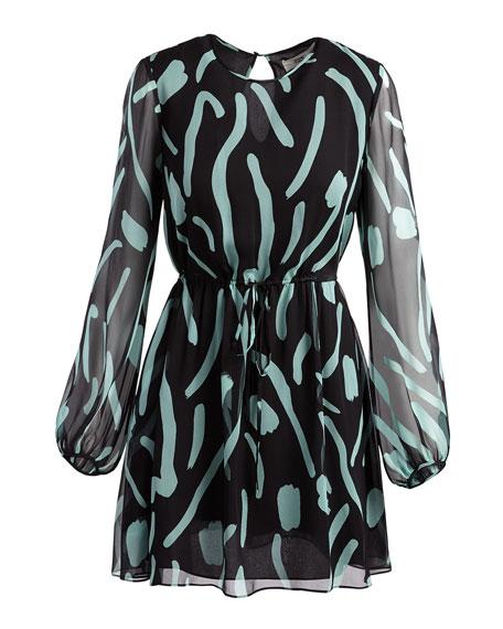 Long-Sleeve Crewneck Silk Mini Dress