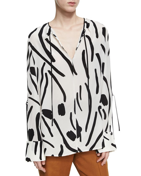 041d6e2f6d80f Diane Von Furstenberg Keyhole Tied Long Sleeve Silk Blouse