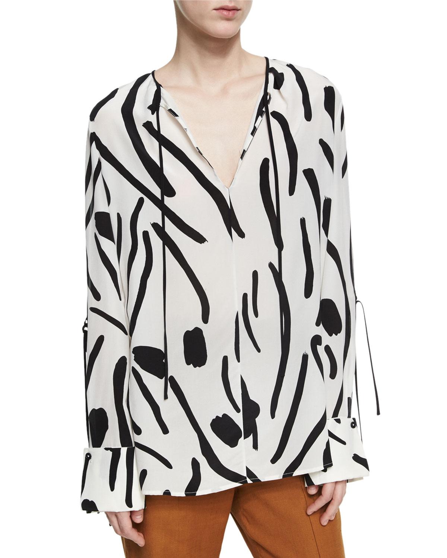128b7a94437a5 Diane von Furstenberg Keyhole Tied Long Sleeve Silk Blouse