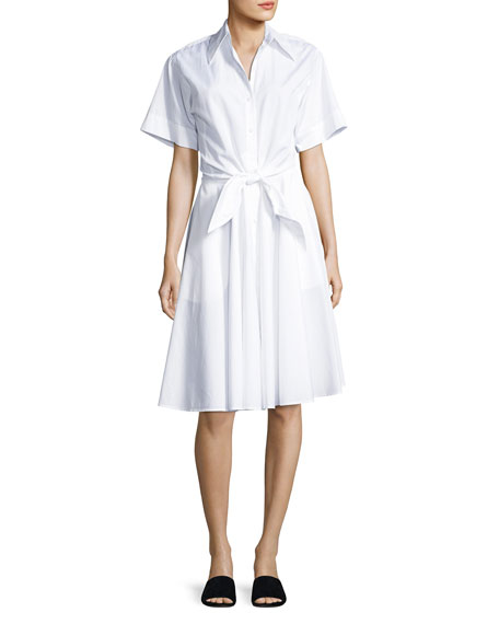 Diane von Furstenberg Collared Cotton Tie-Front Shirtdress, White