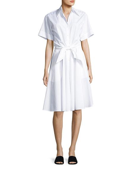 Collared Cotton Tie-Front Shirtdress, White