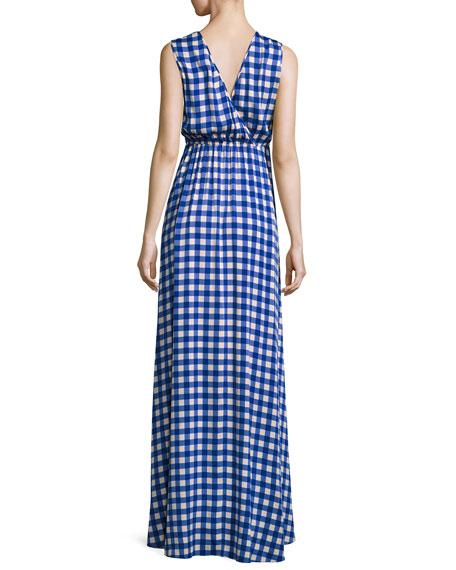 Check-Print Sleeveless Cinched-Waist Maxi Dress, Blue